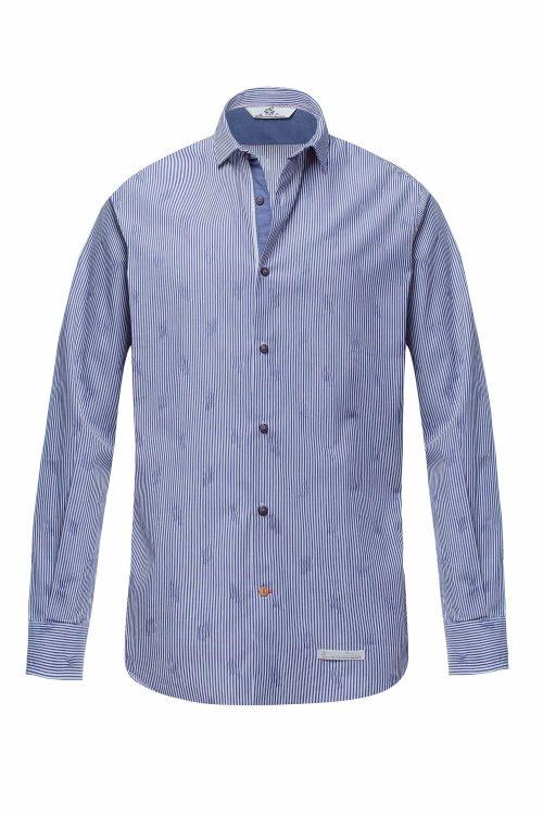 Alessandro Lamura camicia sinai bianco blu uomo