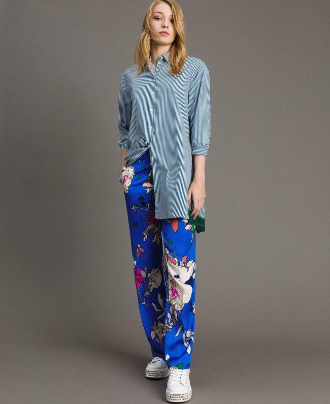 new styles 21e55 da8ed Twin-SetMaxi camicia in popeline a righe con pizzo