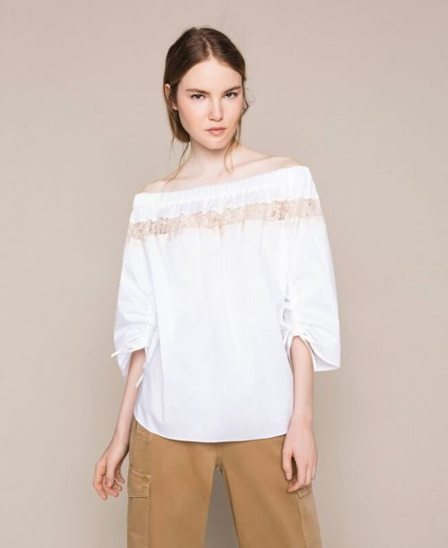 Twinset Blusa in popeline con pizzo